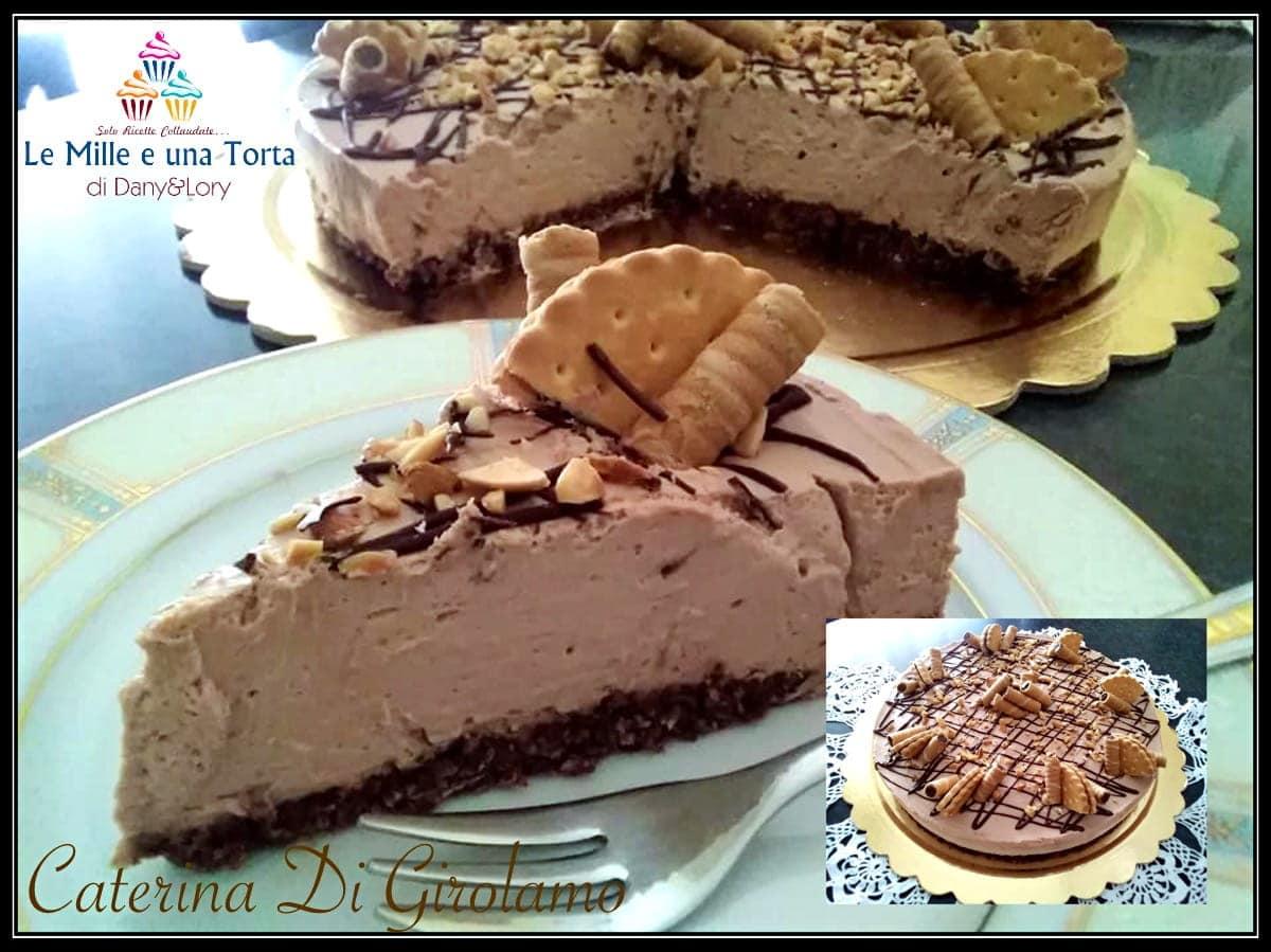 CHEESECAKE ALLA NUTELLA E WAFER con colata di cioccolato fondente