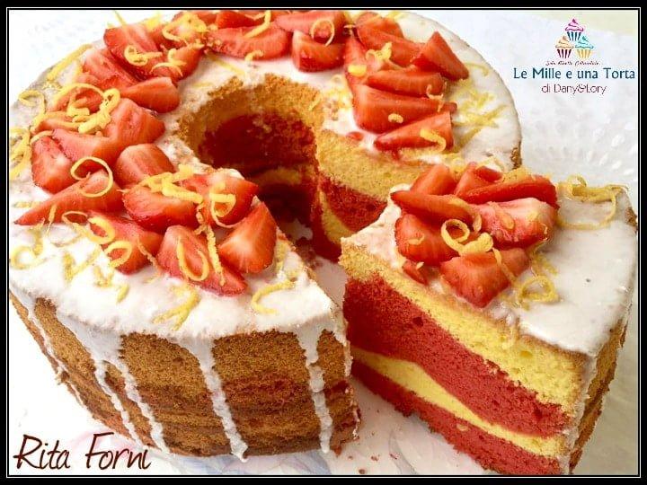 Chiffon Cake Limone E Fragole Con Purea Di Fragole Fresche Nellimpasto 2