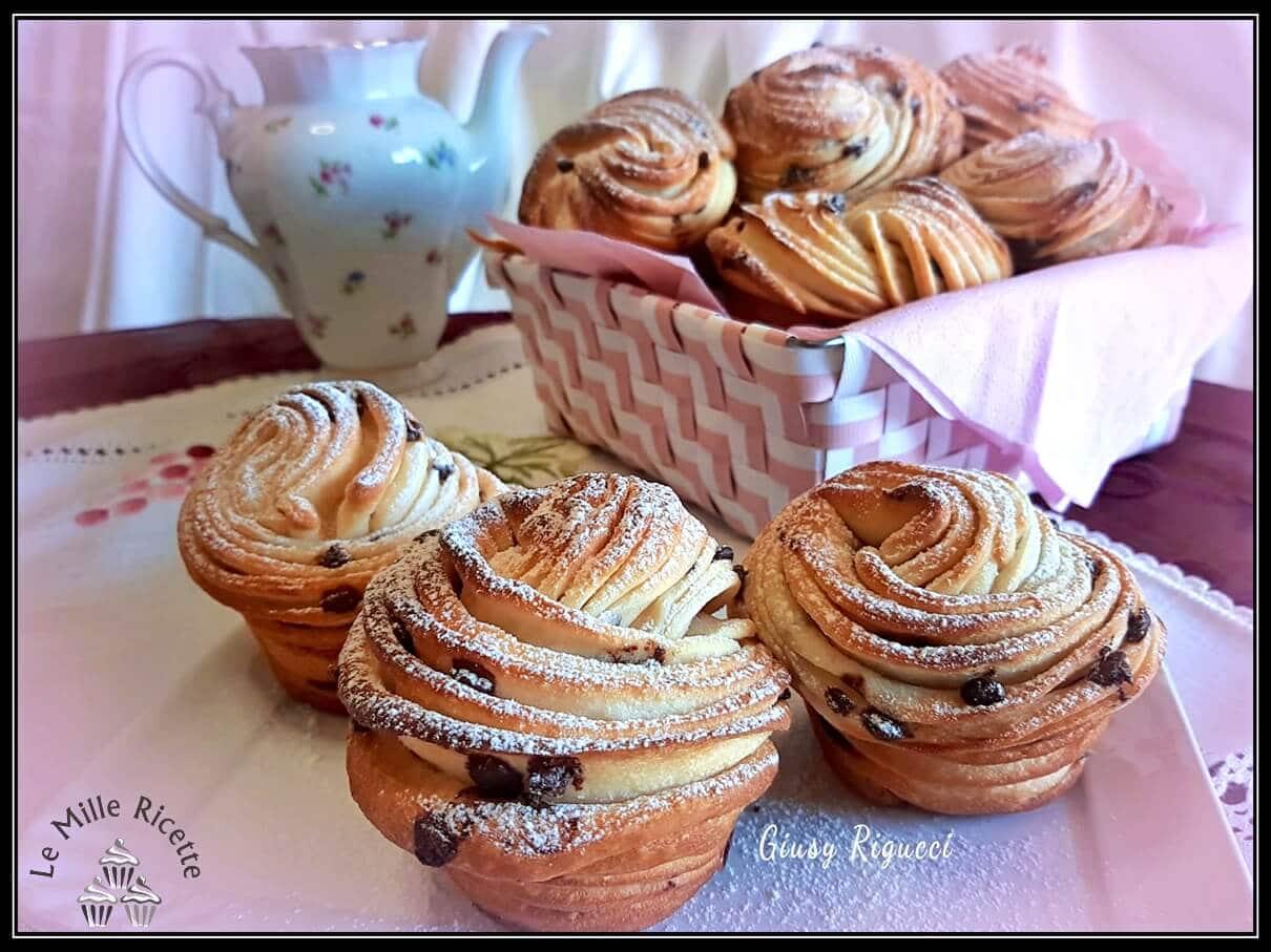Brioche sfogliate,Muffin brioche,Muffin di brioche,Cruffin